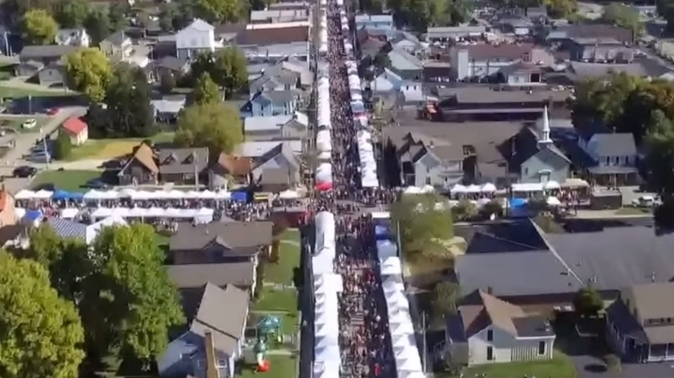 aerial image of a street festival